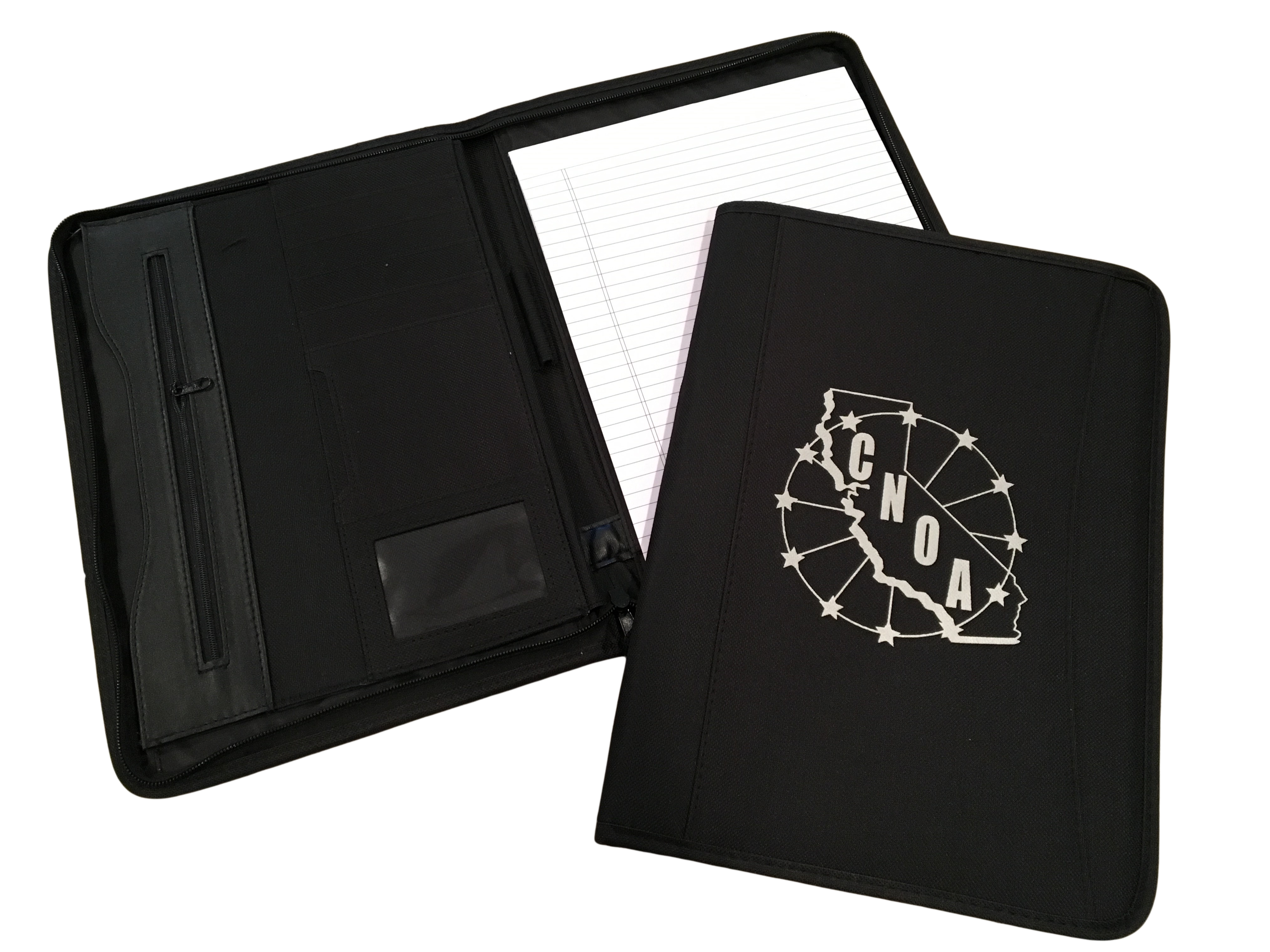 California narcotic officers association official merchandise zip around padfolio with inside flap pockets to hold papers and business cards pen holder letter size notepad slot notepad included reheart Choice Image